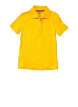 Girls 4-6x Short Sleeve Interlock Polo School Uniform - YELLOW - 5801008930030