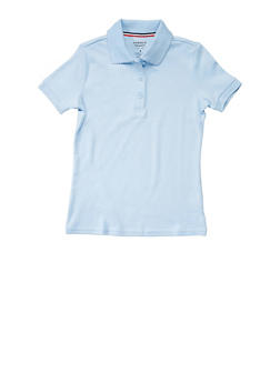 Girls 4-6x Short Sleeve Interlock Polo School Uniform - SKY BLUE - 5801008930030