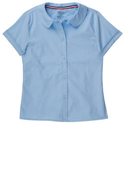 Girls 7-14 Short Sleeve Peter Pan School Uniform Blouse - BABY BLUE - 5811008930020