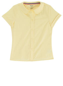 Girls 7-14 Short Sleeve Peter Pan School Uniform Blouse - YELLOW - 5811008930020