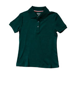 Girls 7-14 Short Sleeve Interlock Polo School Uniform - HUNTER - 5812008930050