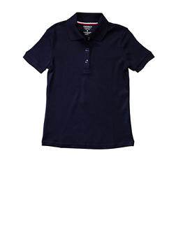 Girls 7-14 Short Sleeve Interlock Polo School Uniform - NAVY - 5812008930050