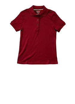 Girls 7-14 Short Sleeve Interlock Polo School Uniform - WINE - 5812008930050