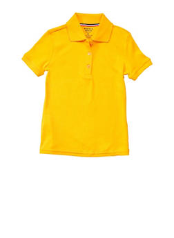 Girls 7-14 Short Sleeve Interlock Polo School Uniform - YELLOW - 5812008930050