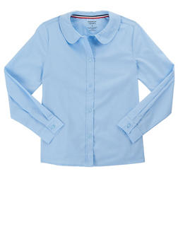 Girls 7-14 Long Sleeve Peter Pan School Uniform Blouse - BABY BLUE - 5813008930020