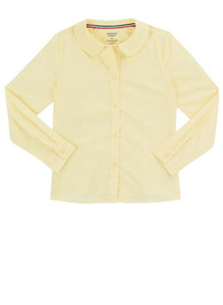 Girls 7-14 Long Sleeve Peter Pan School Uniform Blouse - YELLOW - 5813008930020