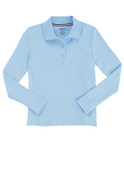 Girls 7-14 Long Sleeve Interlock Knit Polo School Uniform - BABY BLUE - 5814008930020