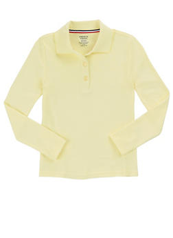 Girls 7-14 Long Sleeve Interlock Knit Polo School Uniform - YELLOW - 5814008930020