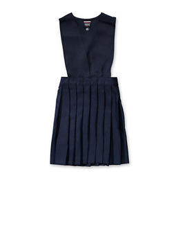 Girls 7-14 V Neck Pleated Jumper School Uniform - NAVY - 5818008930020