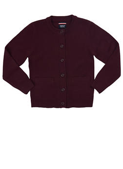 Girls 7-14 Cardigan Sweater School Uniform - WINE - 5819008930020