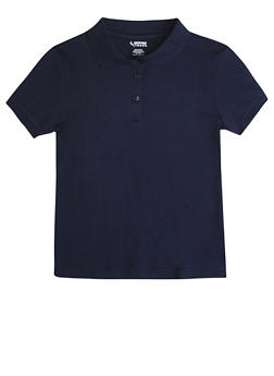 Girls 16-20 Short Sleeve Interlock Polo School Uniform - NAVY - 5823008930030