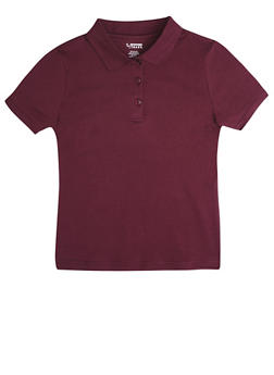 Girls 16-20 Short Sleeve Interlock Polo School Uniform - WINE - 5823008930030