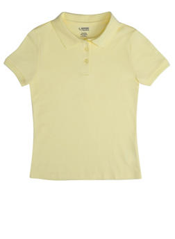Girls 16-20 Short Sleeve Interlock Polo School Uniform - YELLOW - 5823008930030