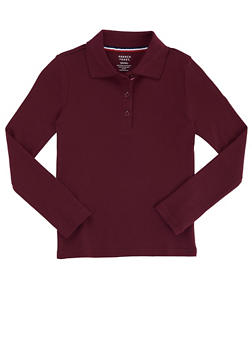 Girls 16-20 Long Sleeve Interlock Knit Polo School Uniform - WINE - 5825008930025