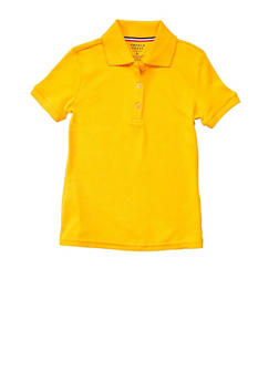 Girls Plus Size Short Sleeve Interlock Polo School Uniform - YELLOW - 5834008930020
