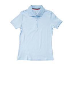 Girls Plus Size Short Sleeve Interlock Polo School Uniform - SKY BLUE - 5834008930020