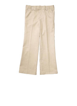 Girls Plus Size Adjustable Waist Pant School Uniform - KHAKI - 5839008930030