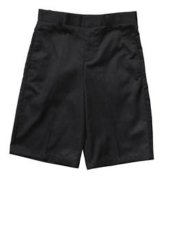 Boys 4-7 Flat Front Adjustable Waist Shorts School Uniform - BLACK - 5854008930050