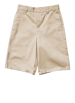 Boys 4-7 Flat Front Adjustable Waist Shorts School Uniform - KHAKI - 5854008930050