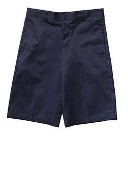 Boys 4-7 Flat Front Adjustable Waist Shorts School Uniform - NAVY - 5854008930050