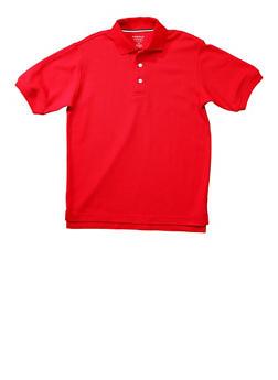 Boys 8-14 Short Sleeve Pique Polo School Uniform - RED - 5861008930050