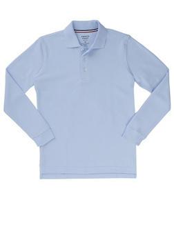 Boys 8-14 Long Sleeve Pique Polo School Uniform - BABY BLUE - 5863008930020