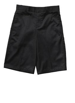 Boys 8-14 Flat Front Adjustable Waist Shorts School Uniform - BLACK - 5864008930050