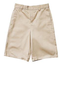 Boys 8-14 Flat Front Adjustable Waist Shorts School Uniform - KHAKI - 5864008930050