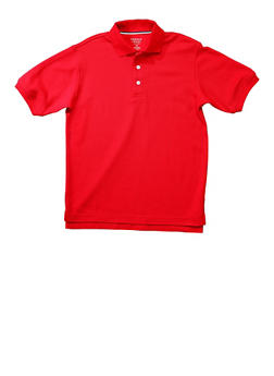 Boys 16-20 Short Sleeve Pique Polo School Uniform - RED - 5871008930050