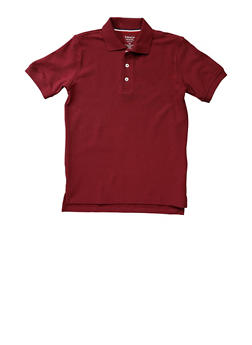 Boys 16-20 Short Sleeve Pique Polo School Uniform - WINE - 5871008930050