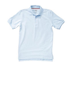 Boys 16-20 Short Sleeve Pique Polo School Uniform - SKY BLUE - 5871008930050