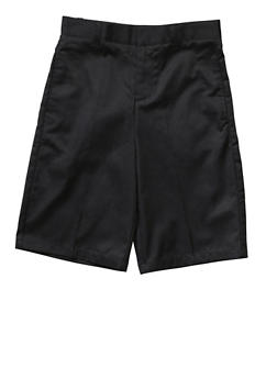 Boys 16-20 Flat Front Adjustable Waist Shorts School Uniform - BLACK - 5874008930050