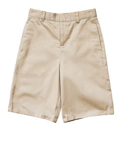 Boys 16-20 Flat Front Adjustable Waist Shorts School Uniform - KHAKI - 5874008930050