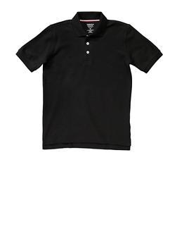 Boys Husky Short Sleeve Pique Polo School Uniform - BLACK - 5881008930050