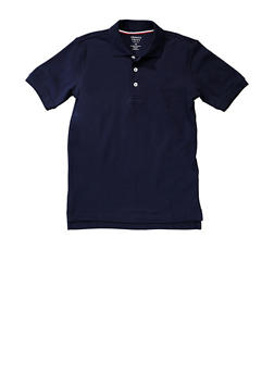 Boys Husky Short Sleeve Pique Polo School Uniform - NAVY - 5881008930050