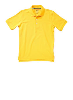 Boys Husky Short Sleeve Pique Polo School Uniform - YELLOW - 5881008930050