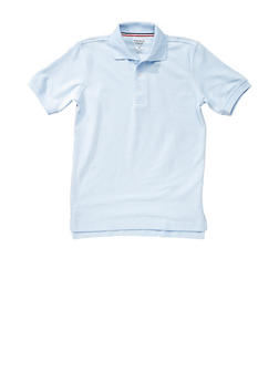 Boys Husky Short Sleeve Pique Polo School Uniform - SKY BLUE - 5881008930050