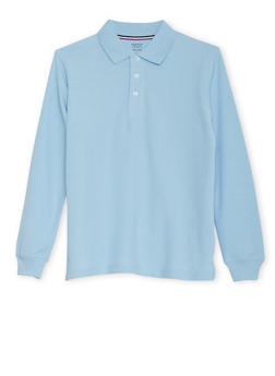 Boys Husky Long Sleeve Pique Polo School Uniform - BABY BLUE - 5883008930020