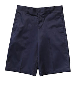 Boys Husky Flat Front Adjustable Waist Shorts School Uniform - NAVY - 5884008930050