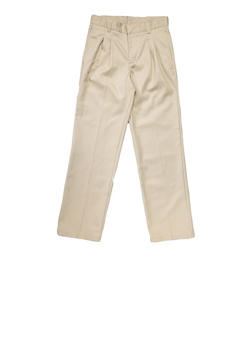 Boys Husky Adjustable Waist Pleated Double Knee Pants School Uniform - KHAKI - 5885008930050