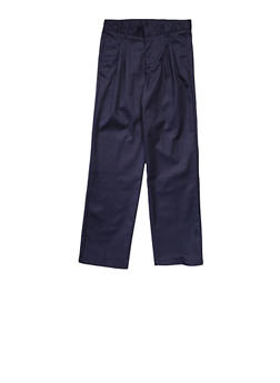 Boys Husky Adjustable Waist Pleated Double Knee Pants School Uniform - NAVY - 5885008930050