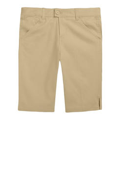 Girls Plus Size Bermuda Shorts School Uniform - KHAKI - 5903008930020