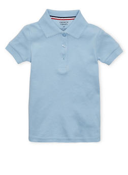 Girls 2T-4T Short Sleeve Interlock Polo School Uniform - BABY BLUE - 5952008930020