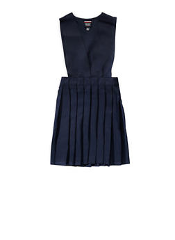 Girls 2T-4T V Neck Pleated Jumper School Uniform - NAVY - 5963008930020