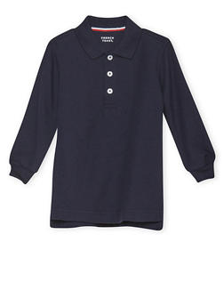 Boys 2T-4T Long Sleeve Pique Polo School Uniform - NAVY - 5972008930020