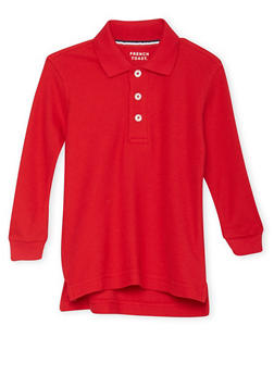 Boys 2T-4T Long Sleeve Pique Polo School Uniform - RED - 5972008930020