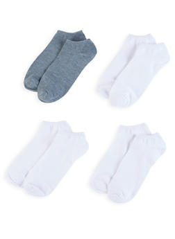 Set of 4 Solid Ankle Socks - GRAY - 6045041454854