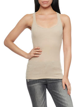 Solid Ribbed Tank Top - 6201054266600