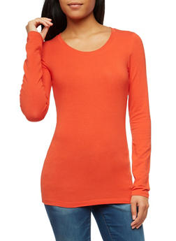 Long Sleeve Scoop Neck Top - 6204054262801