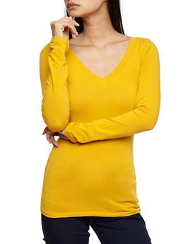 Long Sleeve V Neck Basic Top - 6204054262901